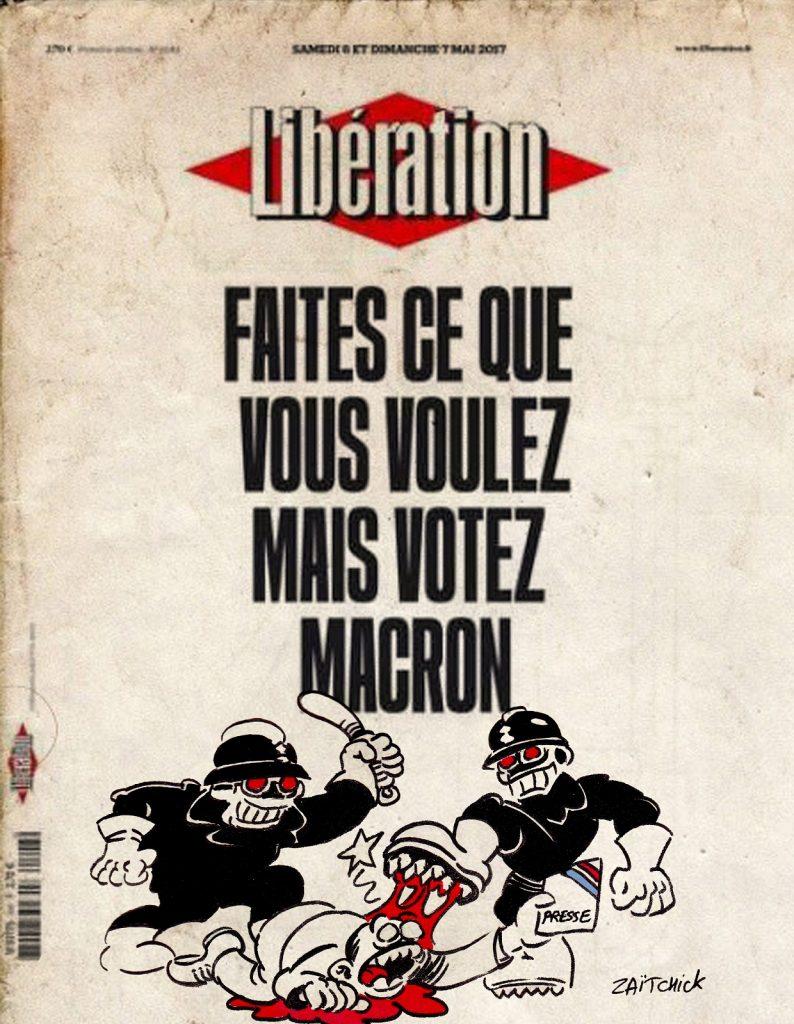 dessin presse humour loi sécurité globale image drôle Macron Libération vote