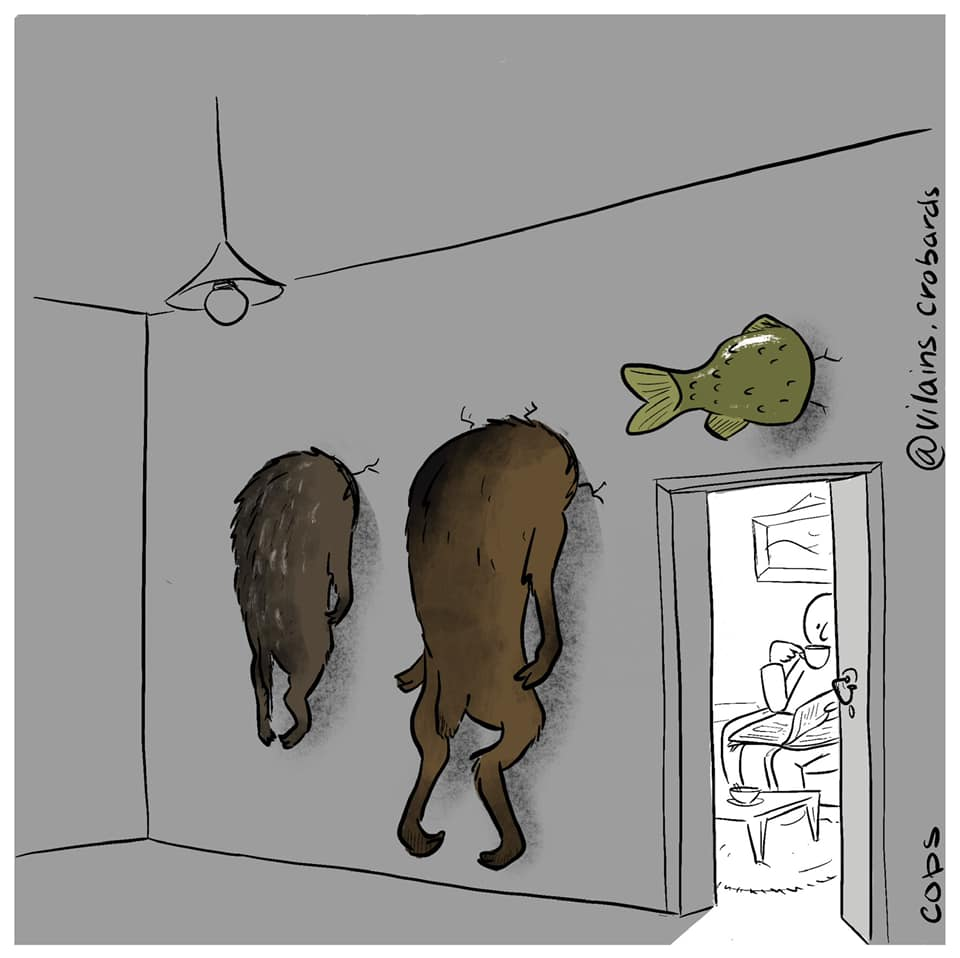 gag image drôle trophée chasse dessin blague humour chasseur décoration