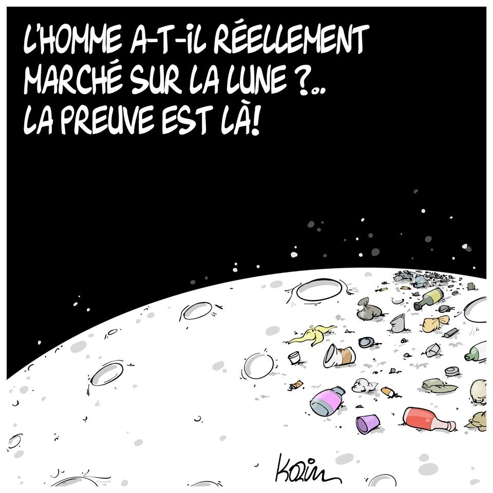 dessin presse humour homme lune image drôle pollution détritus preuve