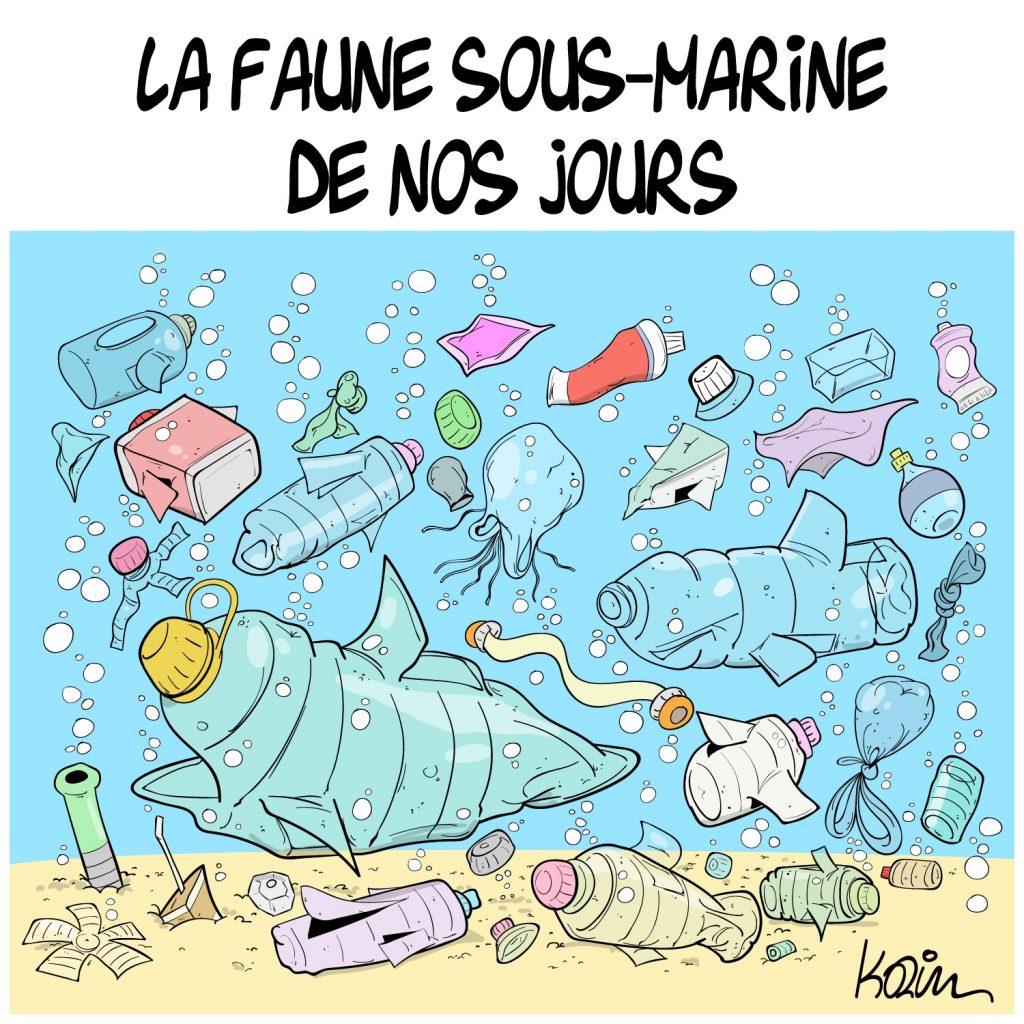 dessin presse humour océans mers image drôle pollution plastique