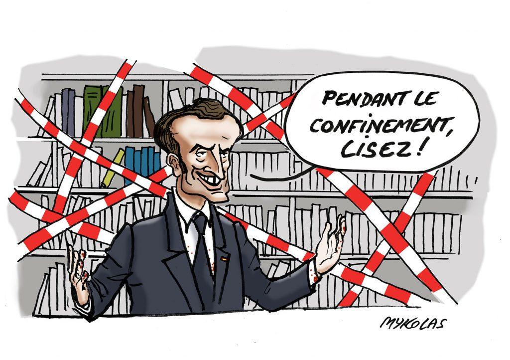 image drôle Emmanuel Macron confinement dessin humour lecture livres reconfinement