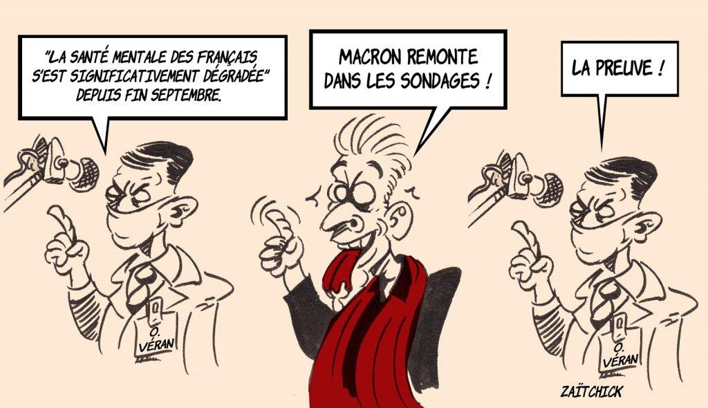 dessin presse humour santé mentale français Olivier Véran image drôle sondage Macron