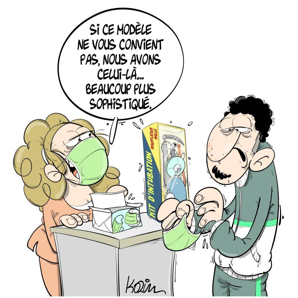 dessin presse humour coronavirus Algérie image drôle covid-19 masques réanimation