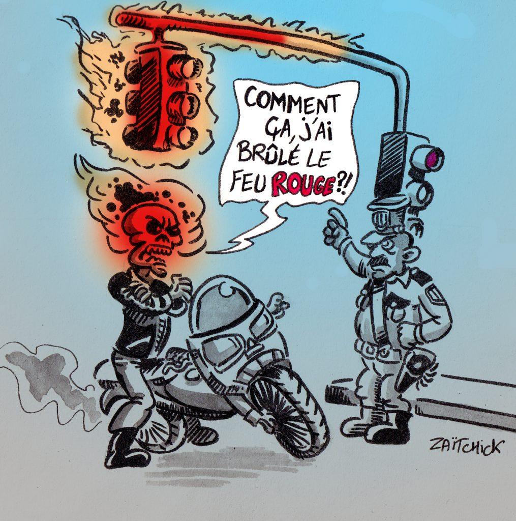 dessin presse humour super-héros image drôle Ghost Rider feu rouge