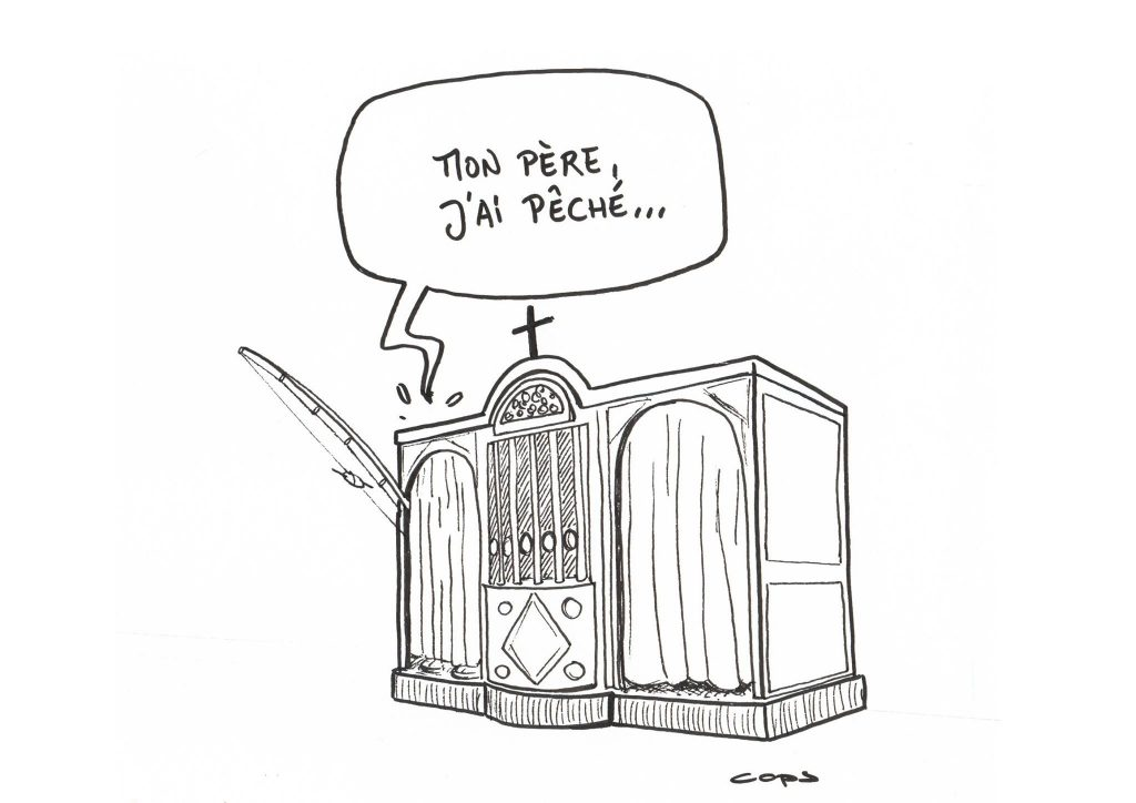 gag image drôle confession église dessin blague humour pêcheur pêche