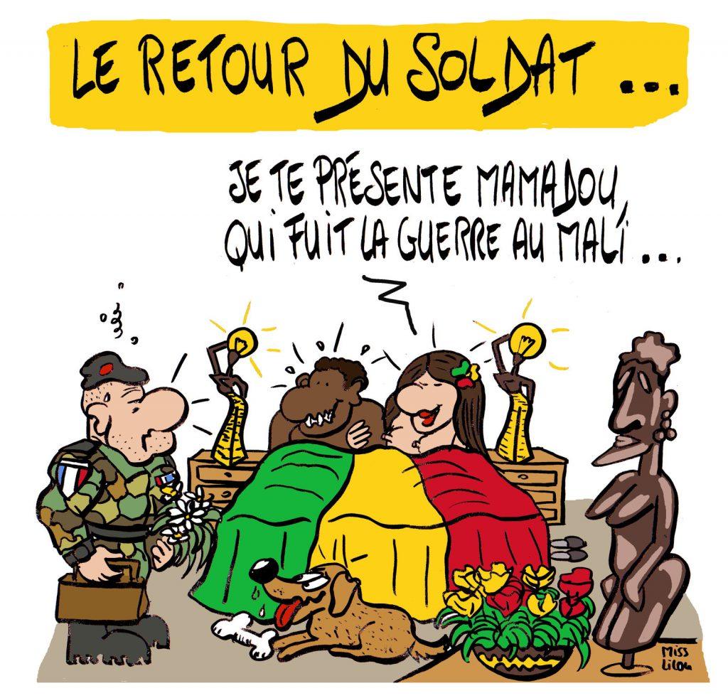 dessin presse humour soldat français image drôle guerre Mali retour