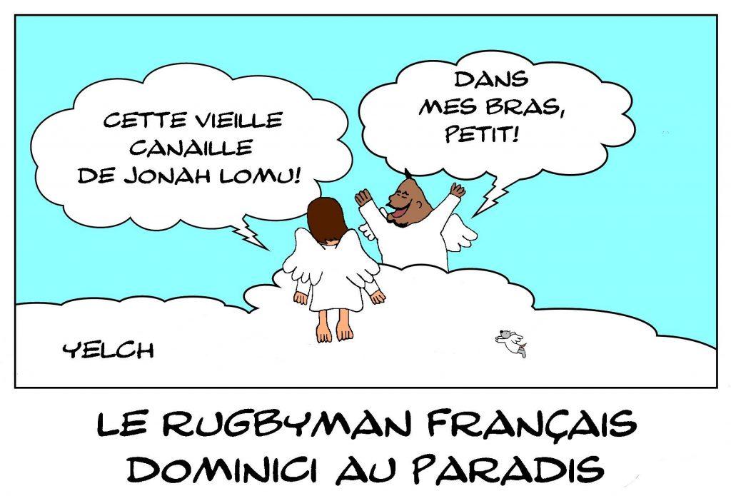 image drôle décès Christophe Dominici dessin humour Jonah Lomu rugby