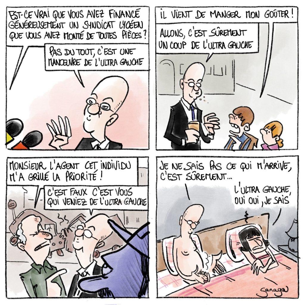 dessin presse humour Jean-Michel Blanquer syndicat Avenir lycéen image drôle ultra gauche