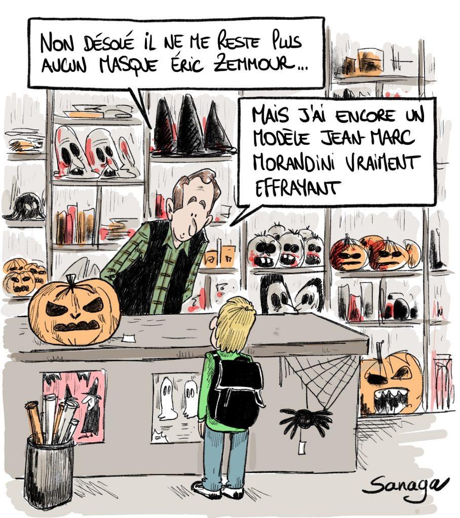 dessin presse humour Halloween Éric Zemmour image drôle masque Jean-Marc Morandini
