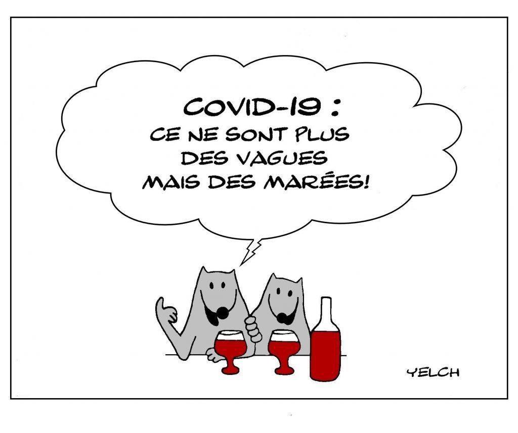 dessin humour épidémie vague marée image drôle coronavirus covid19