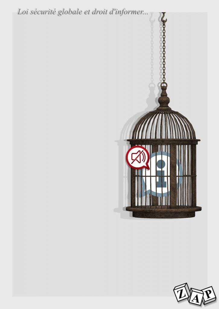 dessin presse humour loi sécurité globale image drôle droit d'informer