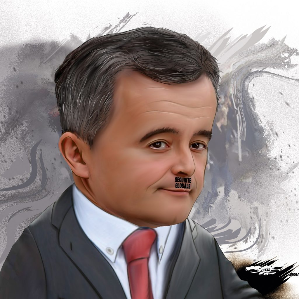 dessin presse humour loi sécurité globale image drôle Gérald Darmanin