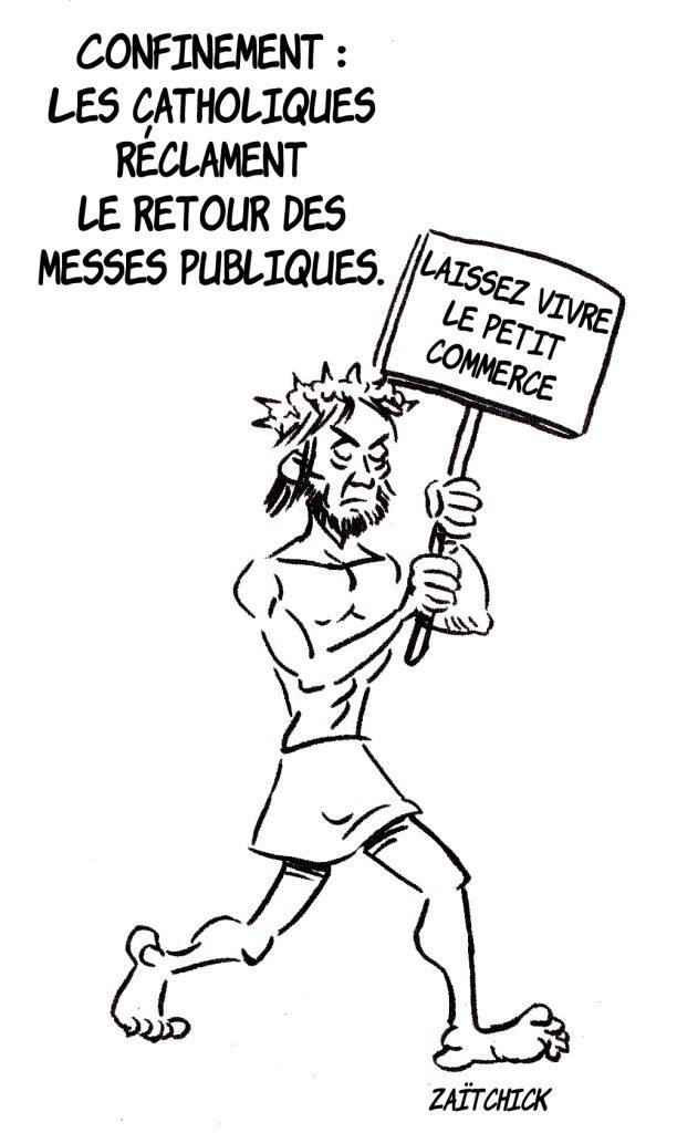dessin presse humour coronavirus confinement image drôle église messe Jésus-Christ