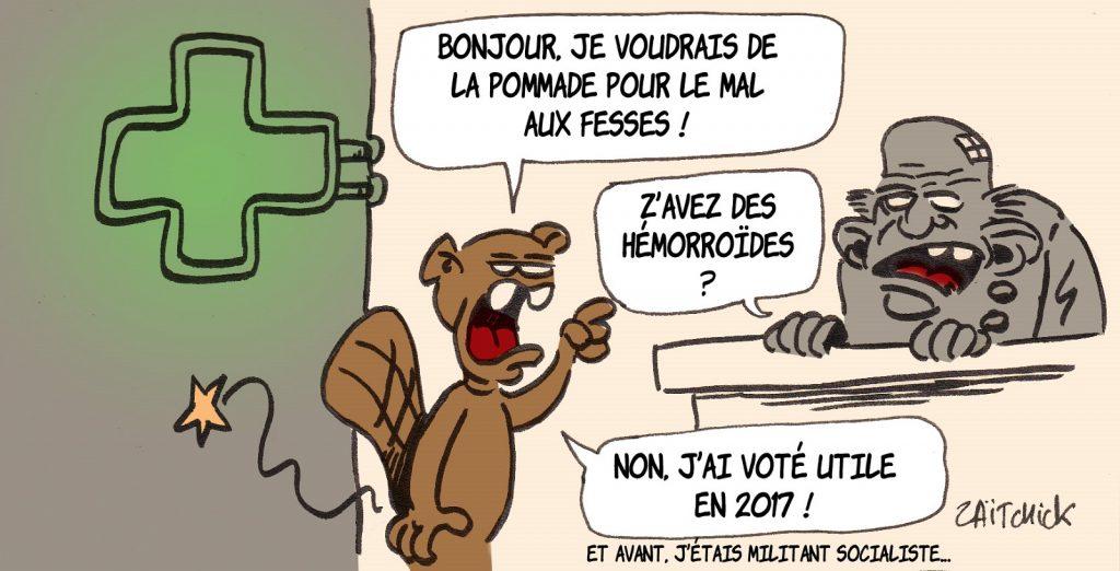 dessin presse humour Emmanuel Macron image drôle vote utile