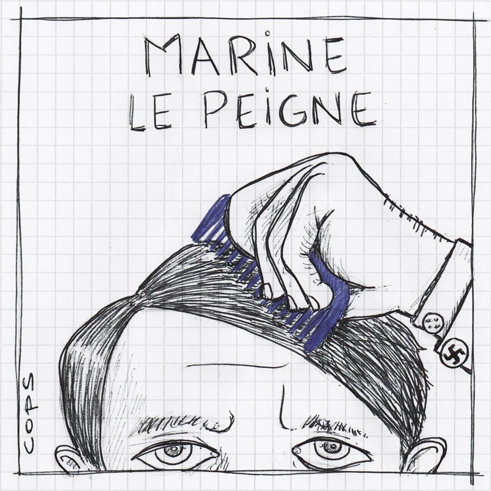 gag image drôle Marine Le Pen dessin blague humour peigne bleu marine