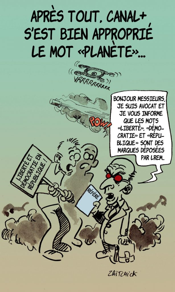 dessin presse humour langage novlangue image drôle privatisation démocratie LREM