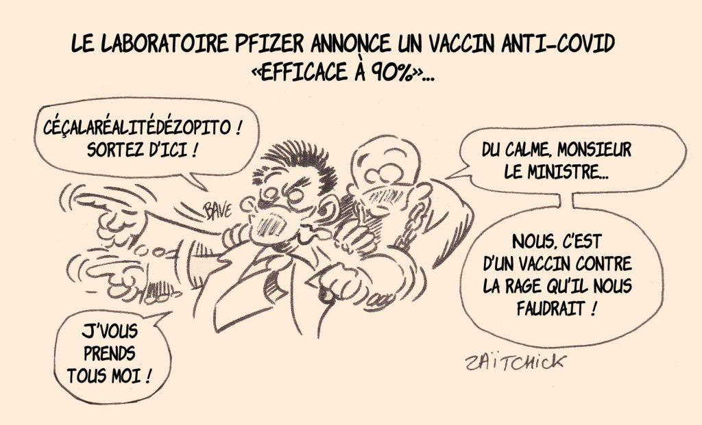 dessin presse humour coronavirus covid19 image drôle Pfizer Olivier Véran Assemblée Nationale