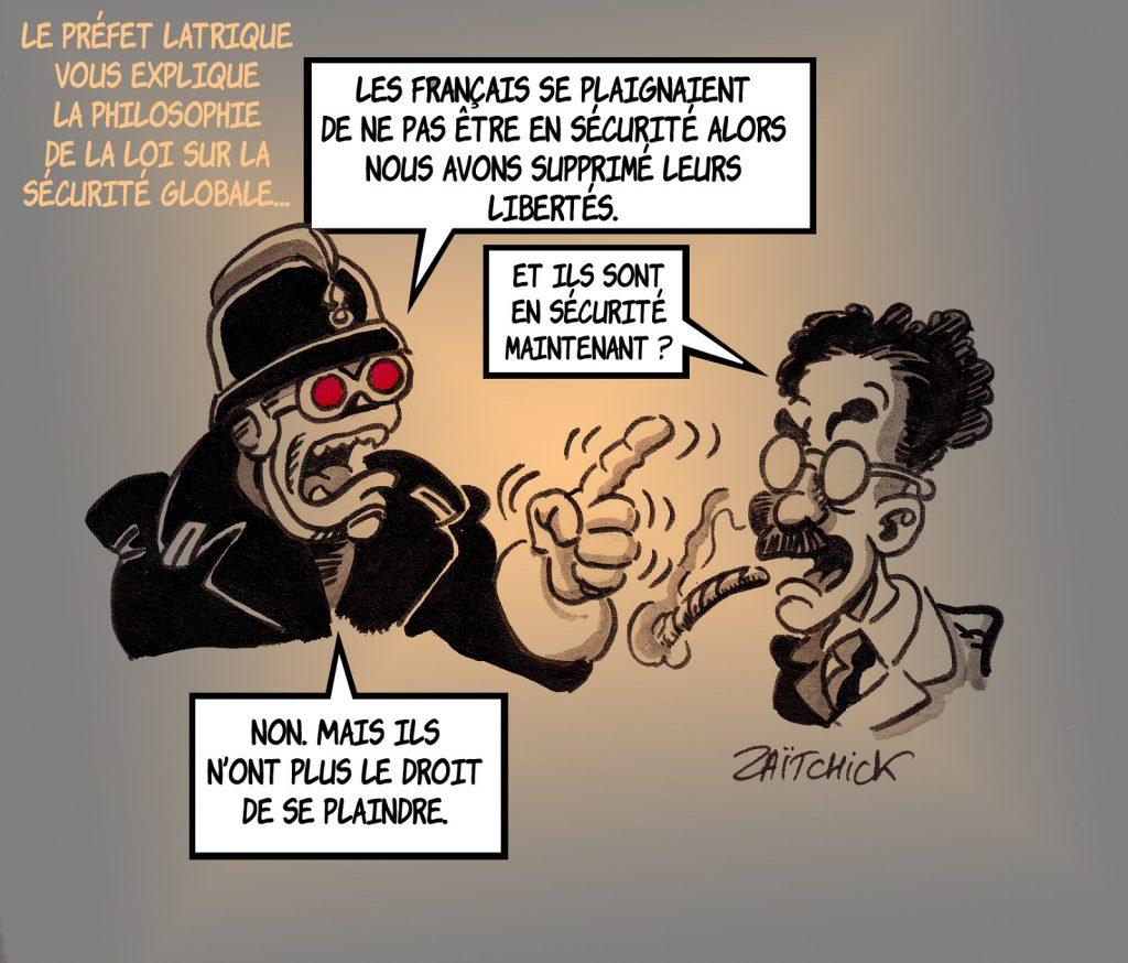 dessin presse humour loi sécurité globale image drôle insécurité libertés français