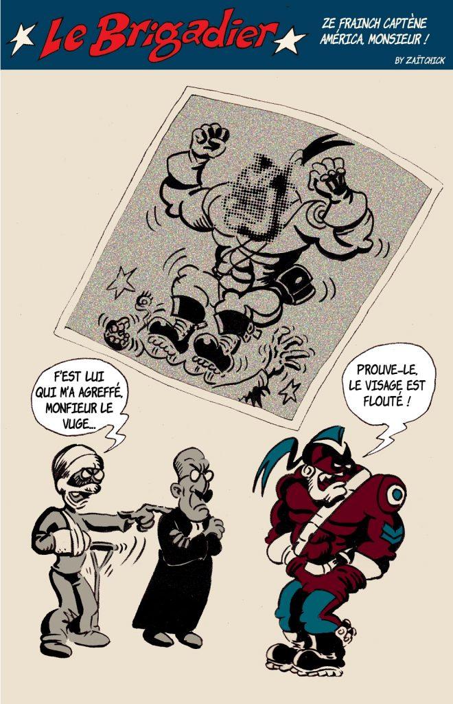 image drôle Le Brigadier dessin humour loi sécurité globale floutage policier violences policières