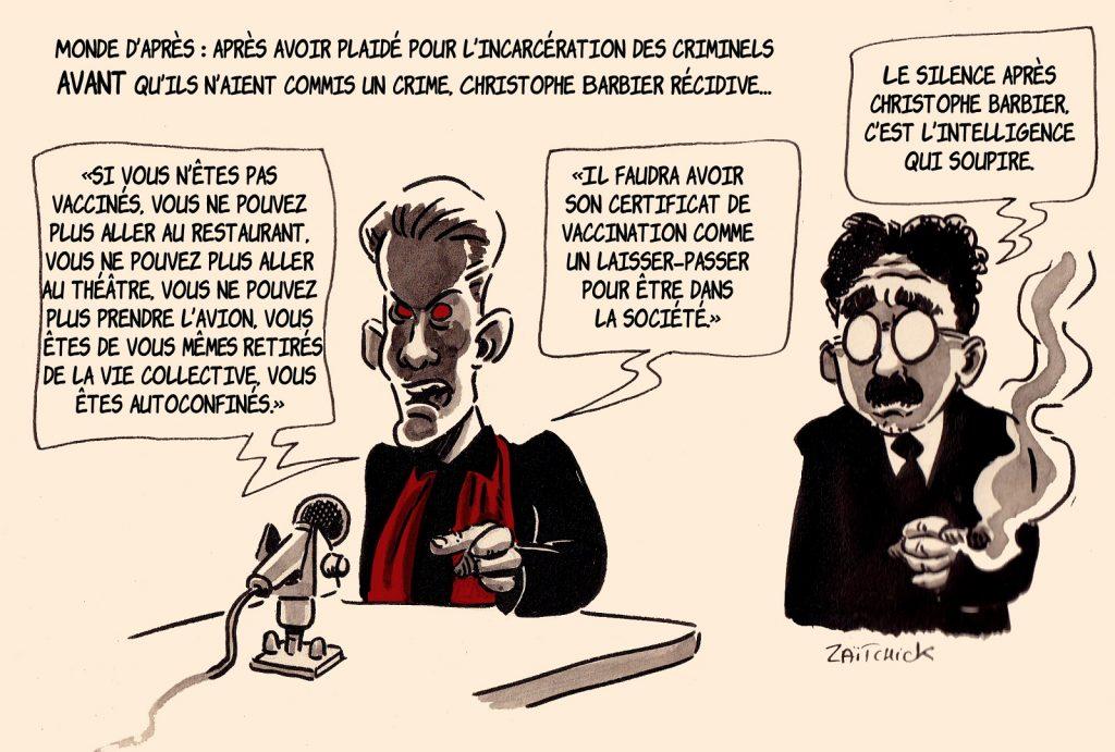 dessin presse humour coronavirus confinement image drôle Christophe Barbier vaccin