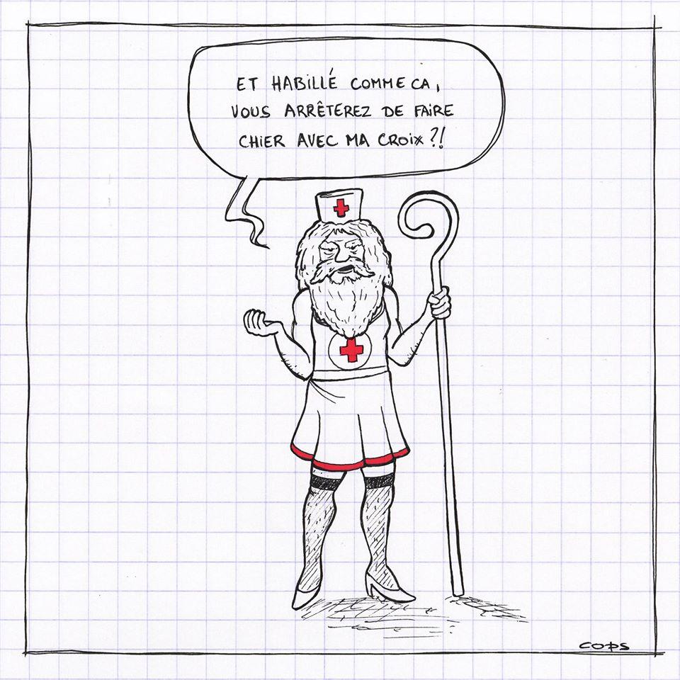 gag image drôle Jésus-Christ croix rouge dessin blague humour infirmière vêtements