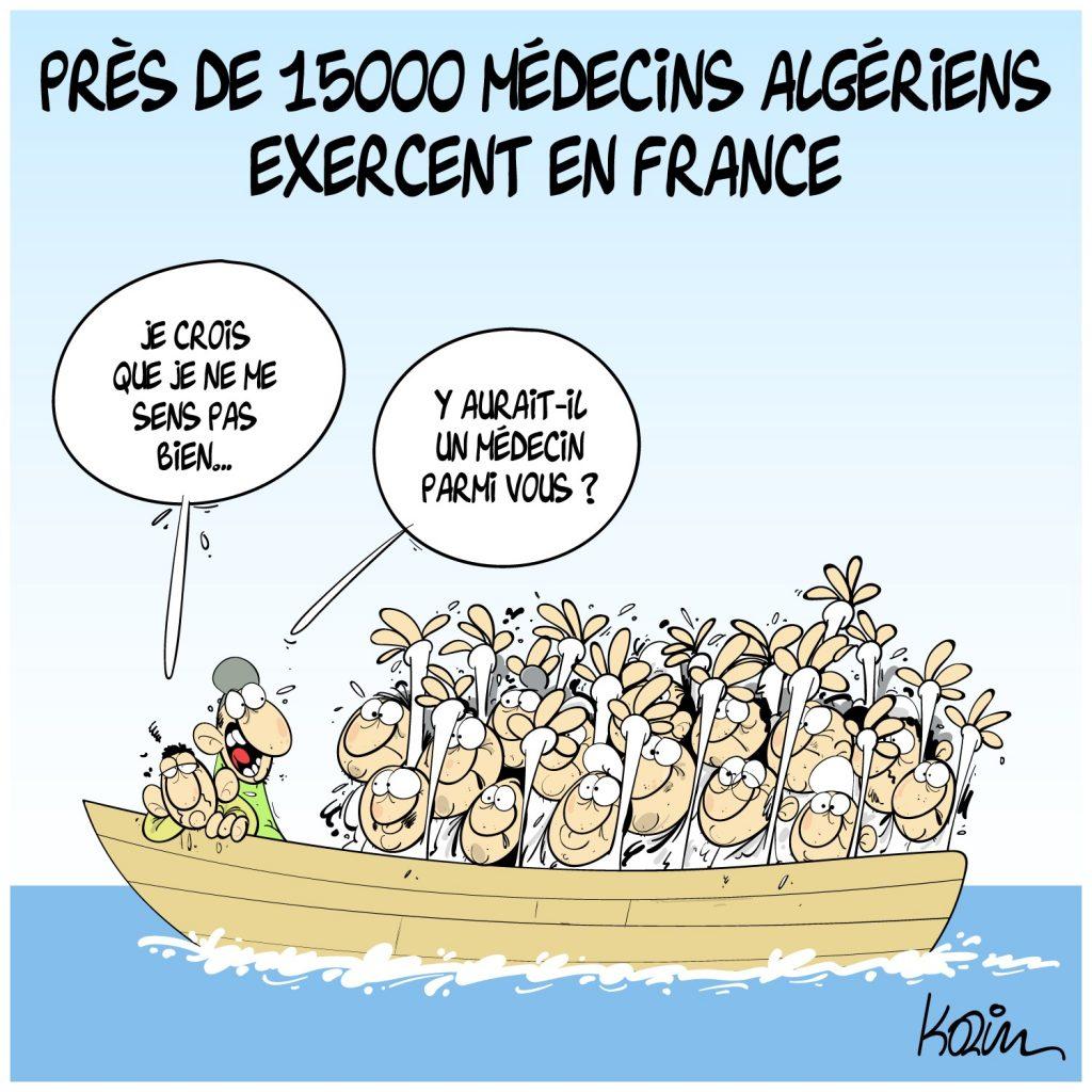 dessin presse humour Algérie médecins image drôle migrants France