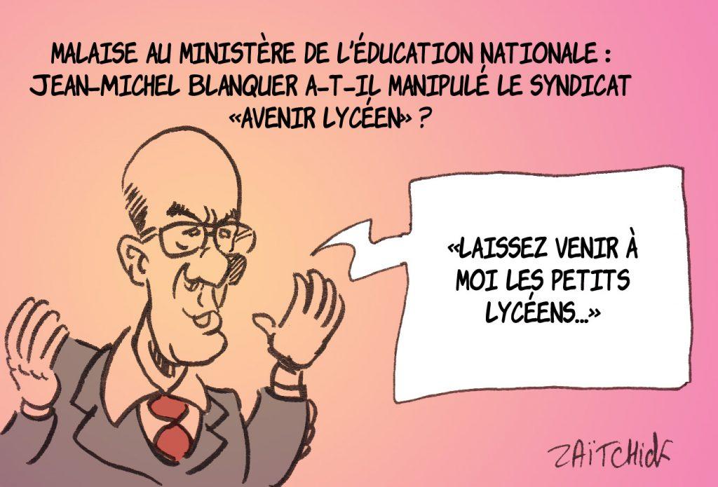 dessin presse humour Jean-Michel Blanquer image drôle syndicat Avenir lycéen
