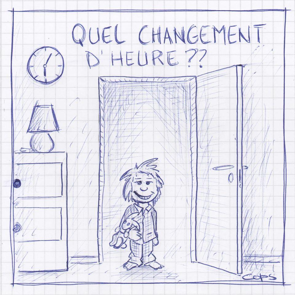 gag image drôle enfants changement d'heure dessin blague humour heure d'hiver