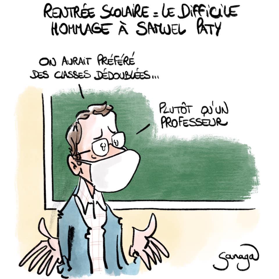 dessin presse humour hommage Samuel Paty image drôle attentat terrorisme