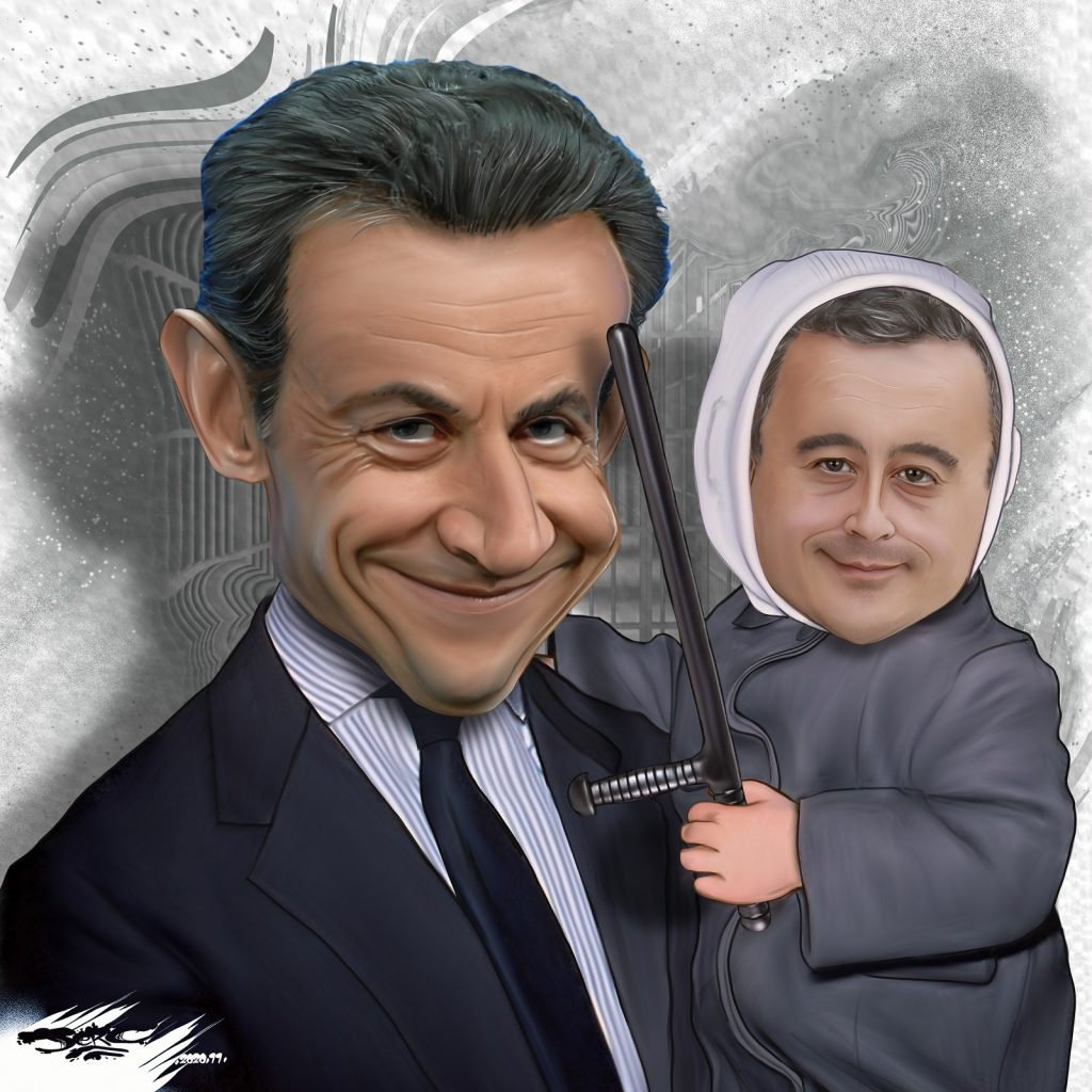 dessin presse humour loi sécurité globale image drôle Gérald Darmanin Nicolas Sarkozy