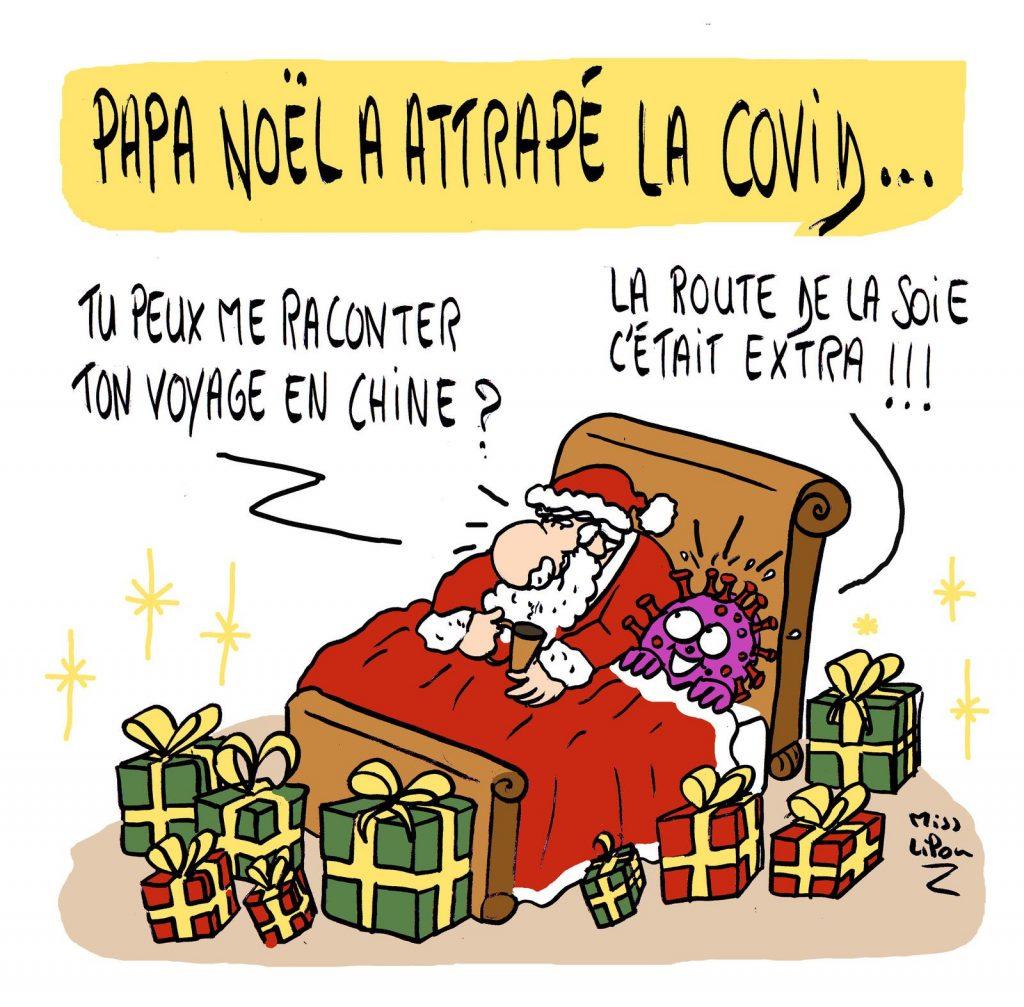 dessin presse humour coronavirus confinement image drôle Père Noël