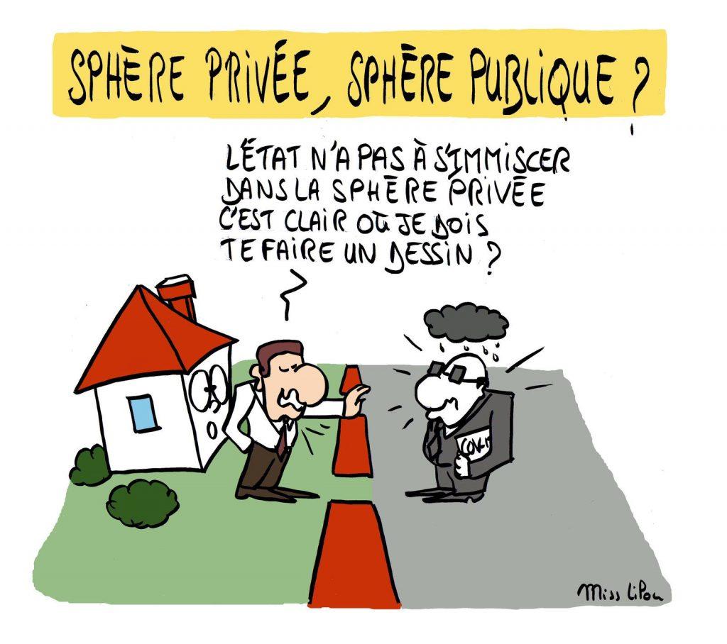 dessin presse humour confinement coronavirus image drôle reconfinement Emmanuel Macron sphère publique privée