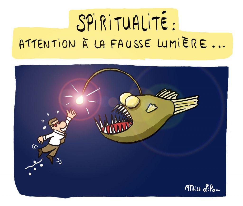 dessin presse humour lumière spiritualité image drôle sectes gourous chamans