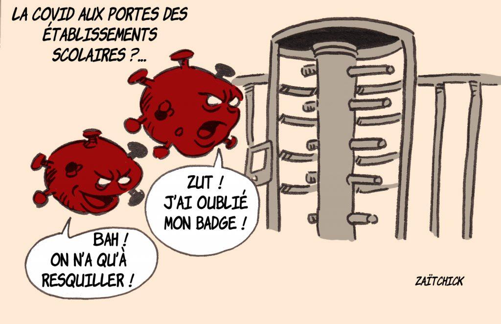 dessin presse humour covid-19 coronavirus image drôle établissements scolaires