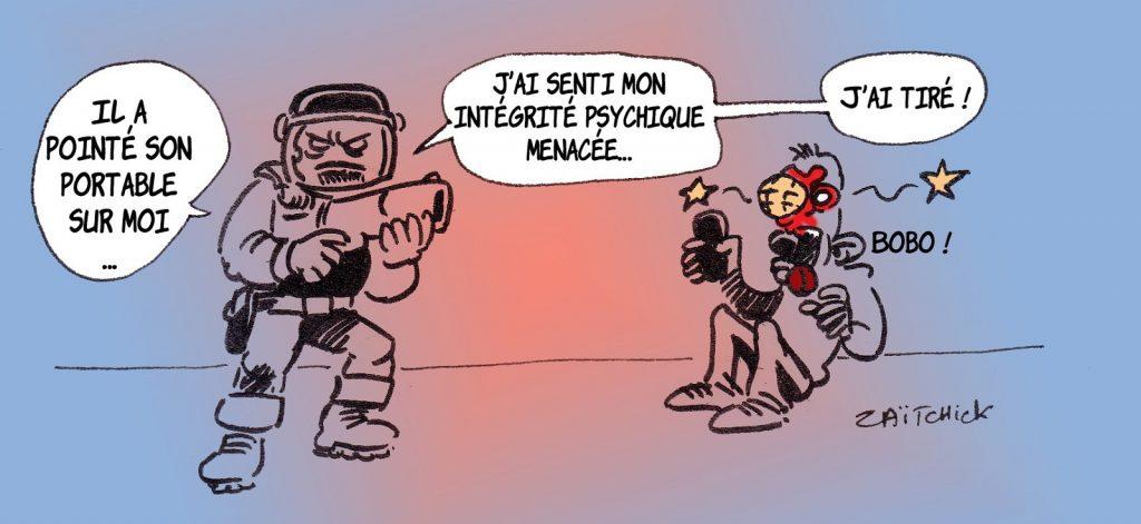 dessin presse humour violences policières image drôle loi sécurité globale