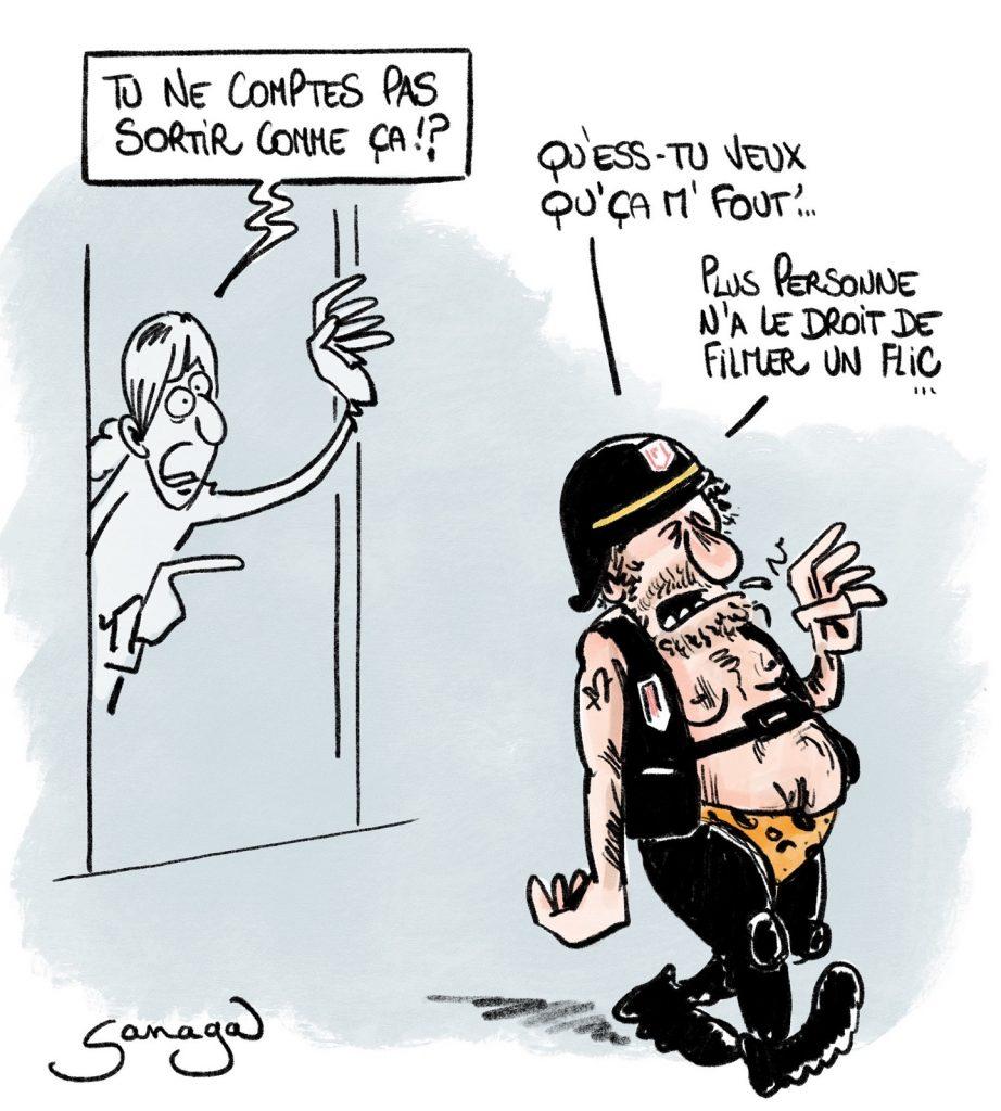 dessin presse humour loi sécurité globale image drôle floutage visage policier