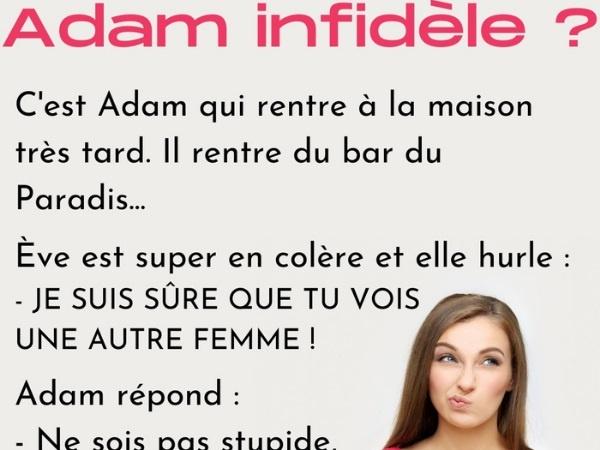 humour, blague sur Adam et Ève, blague sur la jalousie, blague sur l'infidélité, blague sur la création, blague sur le Paradis, blague sur la côte d'Adam