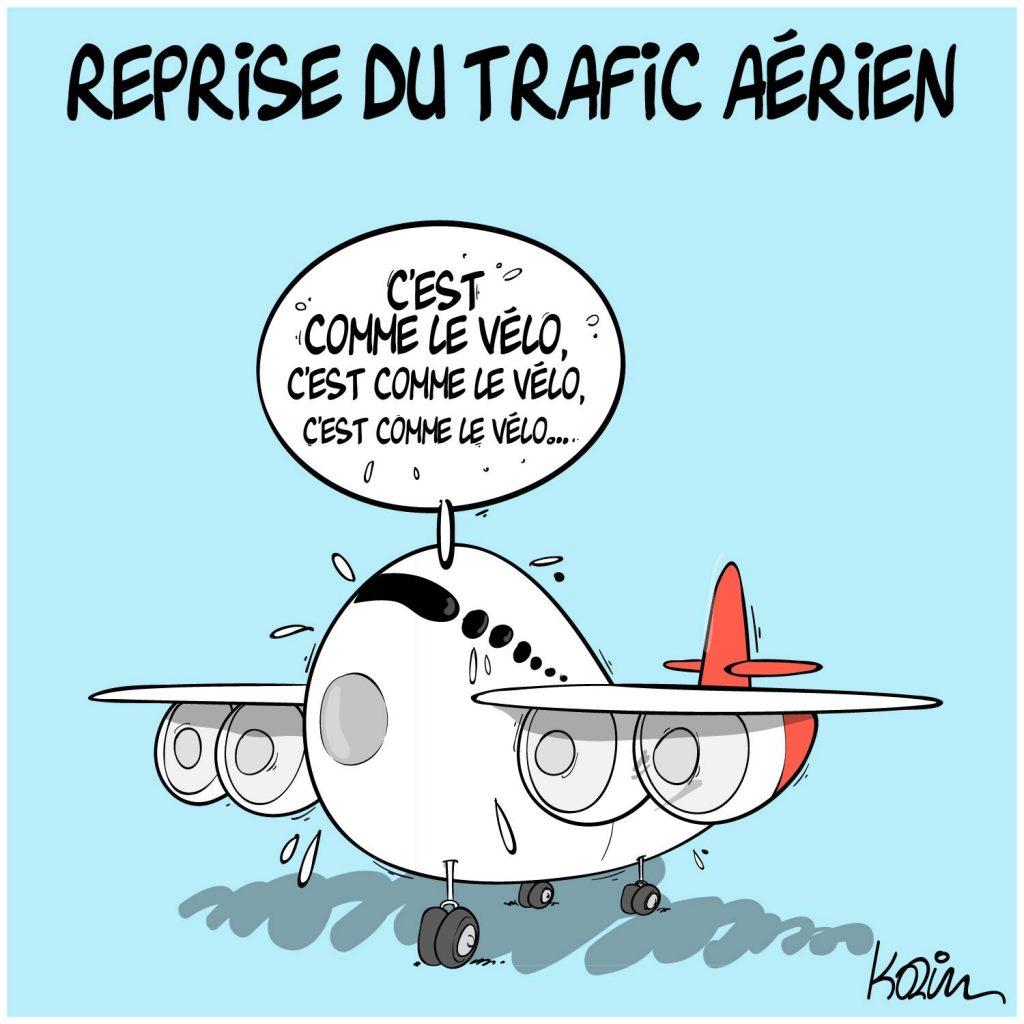 dessin presse humour coronavirus covid-19 image drôle Algérie trafic aérien
