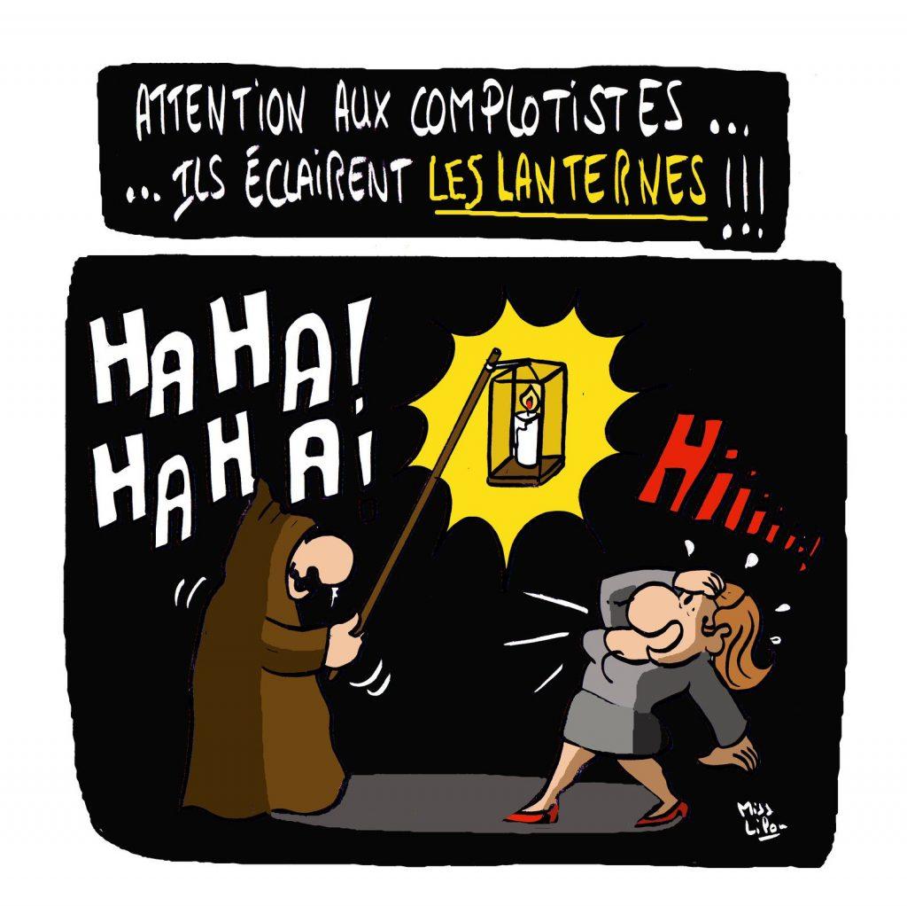 dessin presse humour théorie du complot image drôle complotisme lanterne éclairage