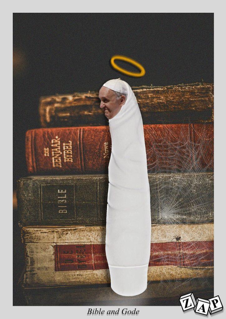 dessin presse humour religion catholique image drôle Pape François Bible vibromasseur
