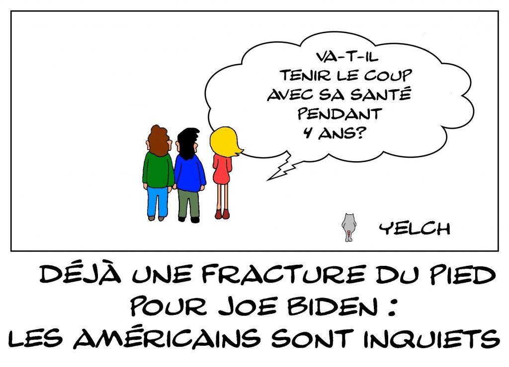 dessins humour États-Unis Joe Biden image drôle fracture pied