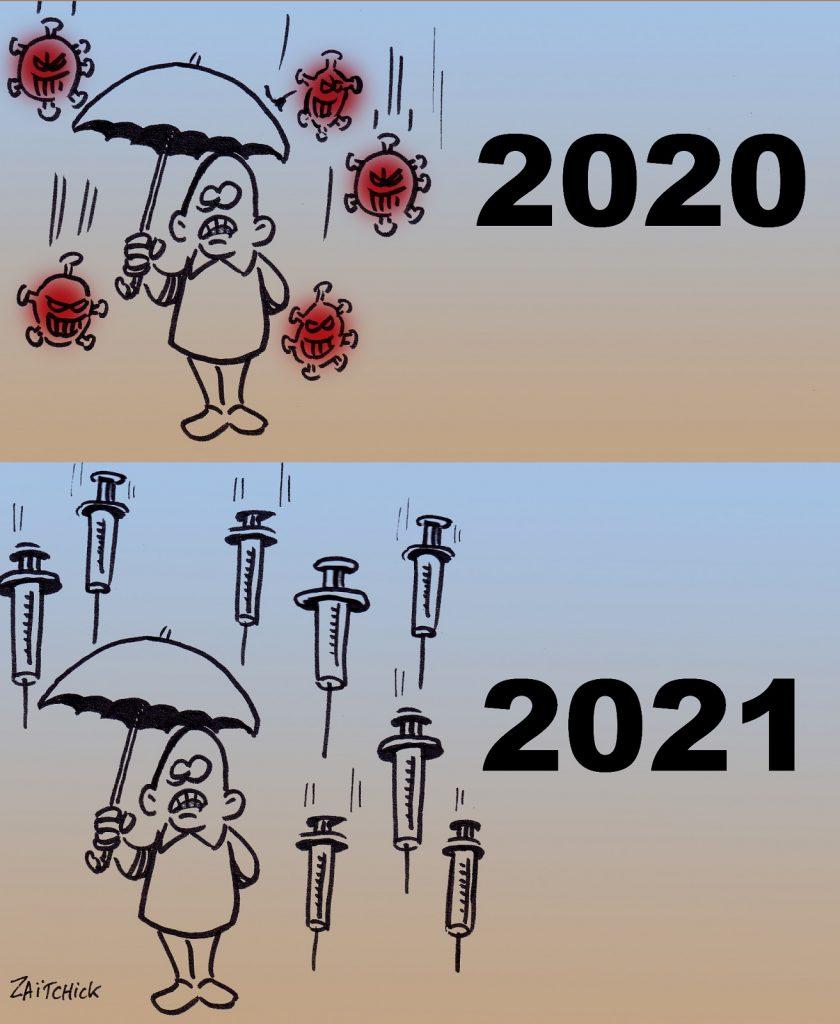dessin presse humour année 2020 coronavirus image drôle année 2021 vaccin anti-covid
