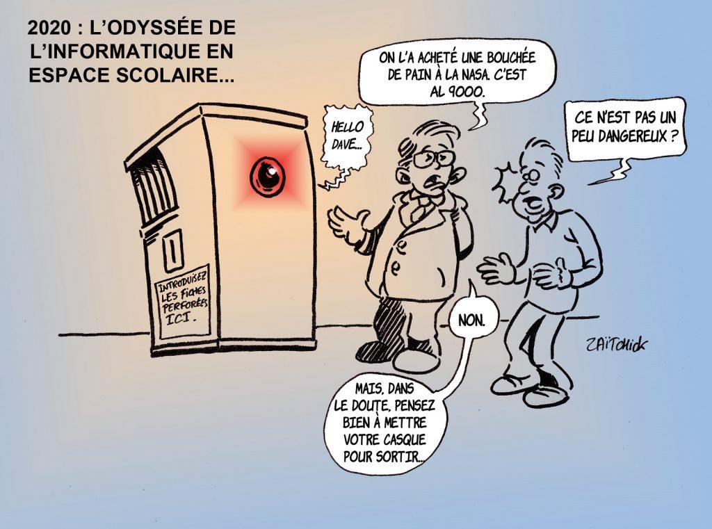 dessin presse humour Éducation Nationale image drôle espace scolaire informatisation