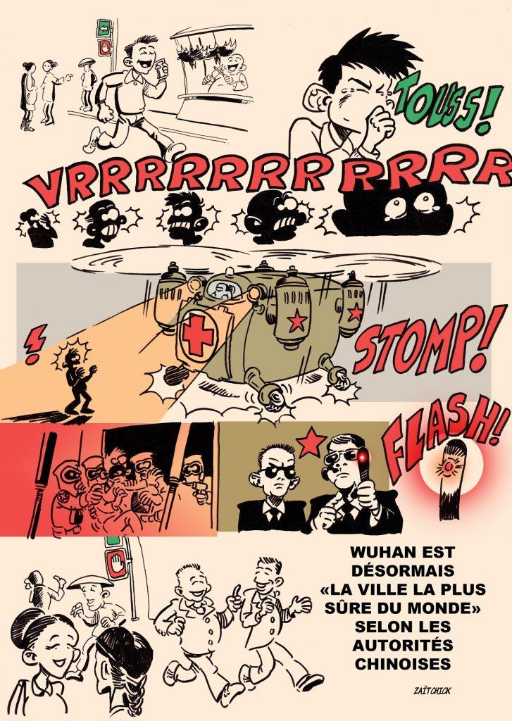 dessin presse humour coronavirus covid-19 image drôle dictature sanitaire Wuhan