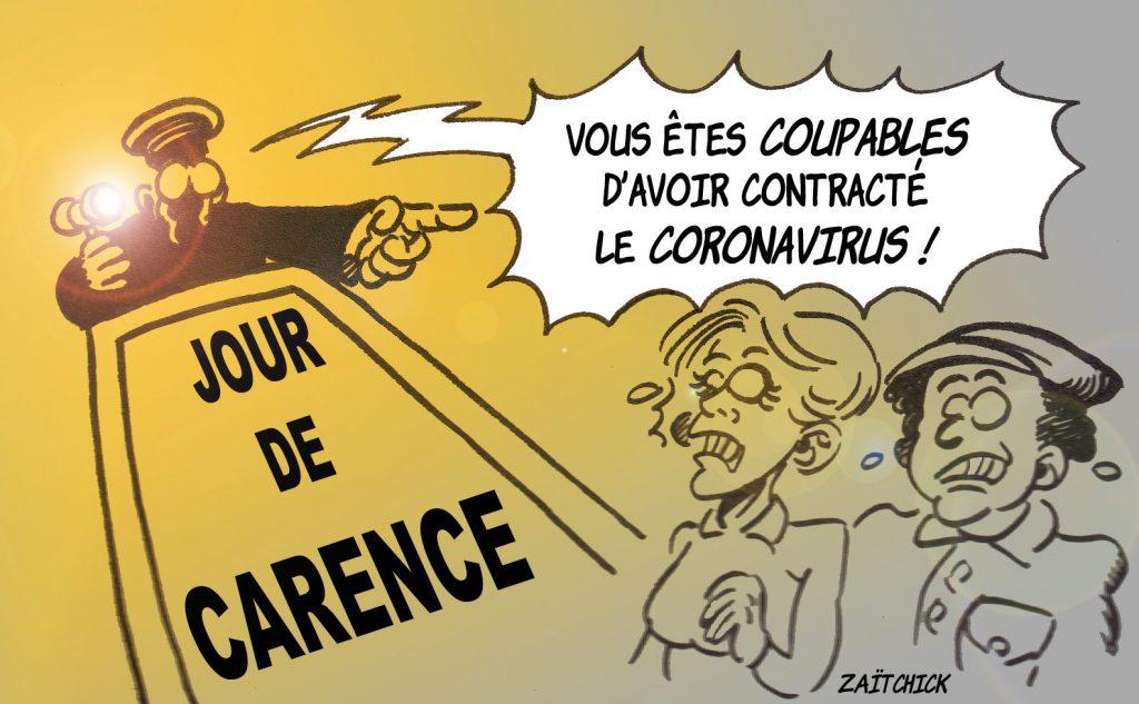 dessin presse humour coronavirus confinement image drôle arrêt maladie jour de carence