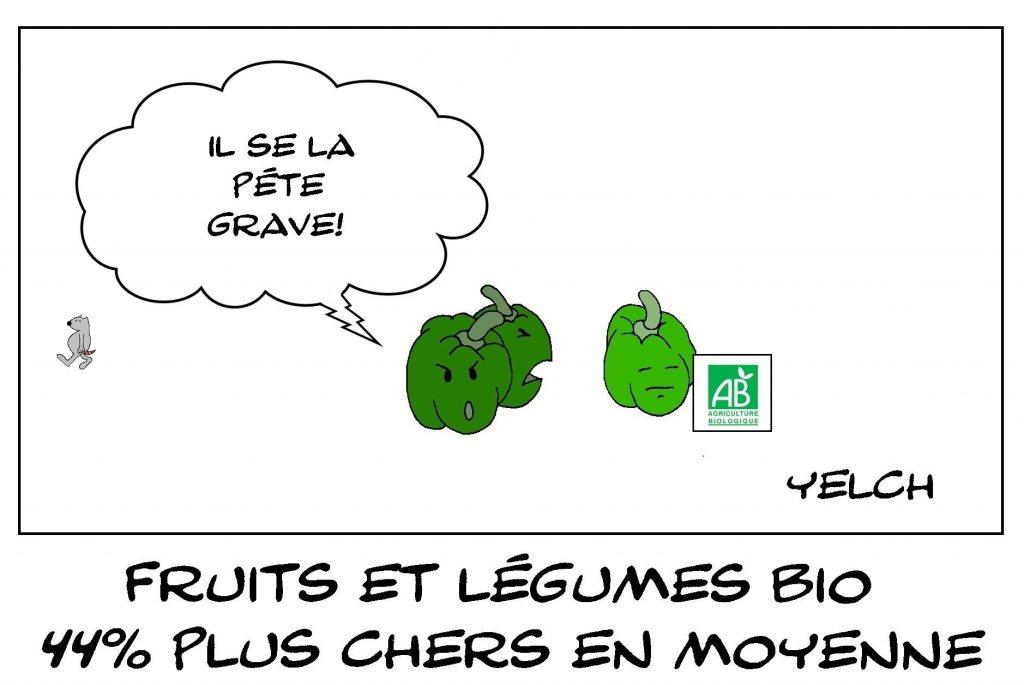 dessins humour fruits légumes bio image drôle prix cherté