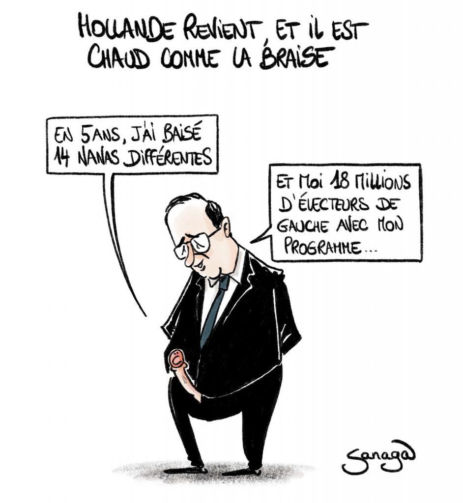 dessin presse humour François Hollande retour image drôle baise électeurs gauche programme