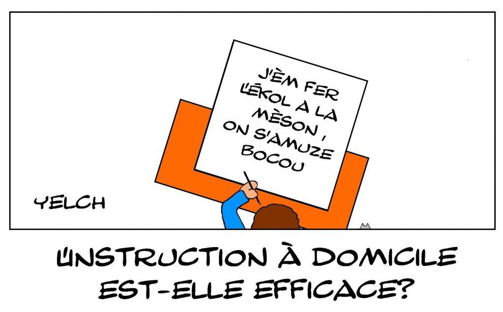 dessins humour scolarité école maison drôle instruction domicile