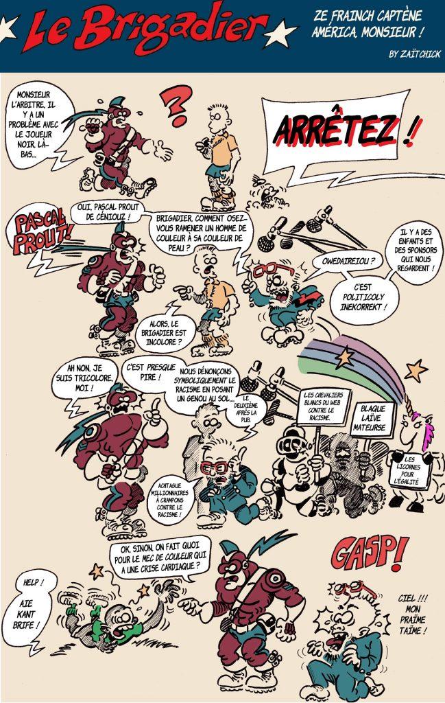 image drôle Le Brigadier dessin humour racisme footballeur Pascal Praud SJW