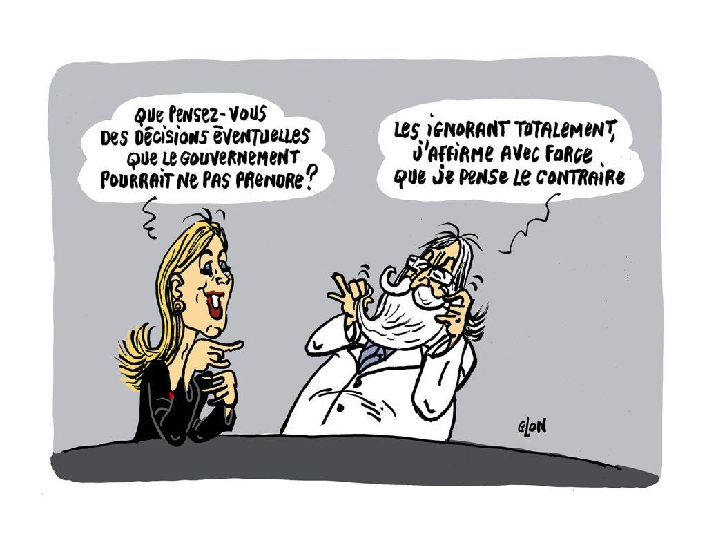 dessin presse humour coronavirus confinement image drôle Laurence Ferrari Didier Raoult